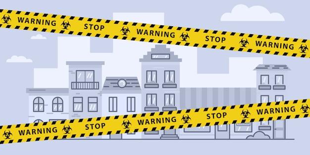Taśma barierowa blokująca wirusy nad miastem. pandemia. znak ostrzegawczy o zagrożeniu biologicznym. akcyjna ilustracja w płaskim projekcie.