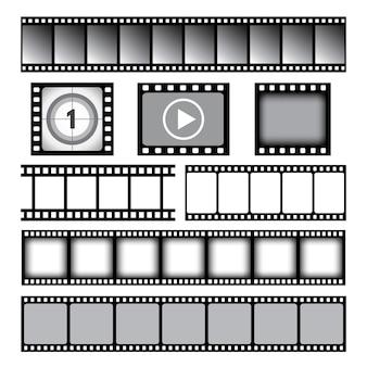 Taśma filmowa. kino lub taśma fotograficzna taśma filmowa 35 mm szpule szablon grafiki wektorowej. taśma filmowa 35 mm, ilustracja klatek kinowych