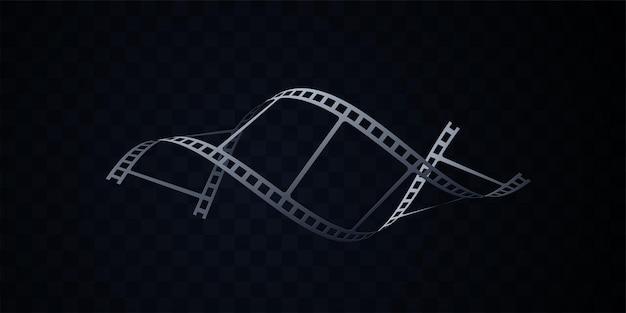 Taśma filmowa na białym tle na czarnym tle