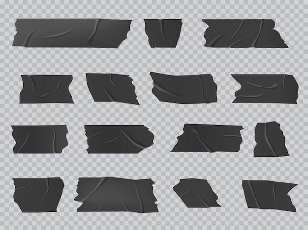 Taśma klejąca, pomarszczone paski samoprzylepne na białym tle wektor czarny, klejone kawałki taśmy klejącej do naprawy, naprawy lub pakowania bagażu