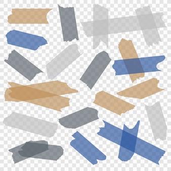 Taśma klejąca. przezroczyste papierowe taśmy klejące, maskujące lepkie kawałki paski kleju. zestaw na białym tle