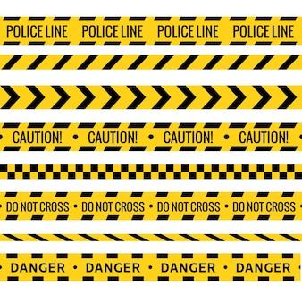 Taśma kryminalna. policja niebezpieczeństwo ostrożność wektor żółta bariera. nie przekraczaj linii bezpieczeństwa.