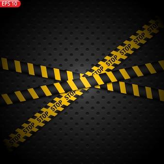 Taśma ostrzegawcza czarny i żółty na białym tle. realistyczne taśmy ostrzegawcze.