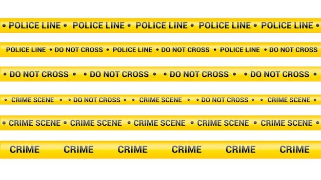 Taśma policyjna, linia zagrożenia przestępczością. uwaga linie policji na białym tle. taśmy ostrzegawcze. zestaw żółtych wstążek ostrzegawczych. ilustracja wektorowa na białym tle.