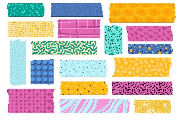 Taśma washi. japońskie taśmy papierowe do zdobień, kolorowe wzory w paski. zestaw naklejek obramowania podartej tkaniny