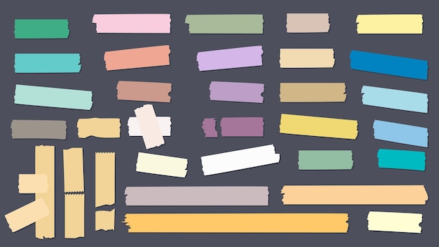 Taśmy w kolorze washi. kolekcja ozdobnych samoprzylepnych papierów do scrapbookingu. ilustracja taśma klejąca lepki, naklejka papier do notatników