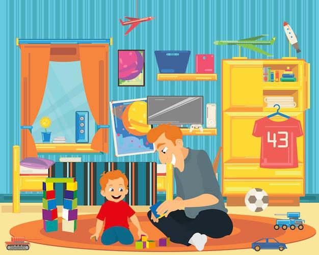 Tata bawi się z synem w pokoju dziecinnym.