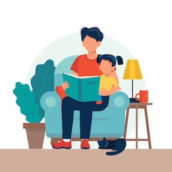 Tata czyta dla dziecka. rodzina siedzi na krześle z książką.
