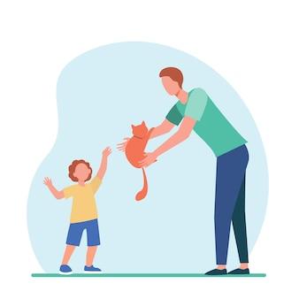 Tata daje rudego kota małemu słońcu. adopcja zwierzęcia, płaska ilustracja rodzic i dziecko.