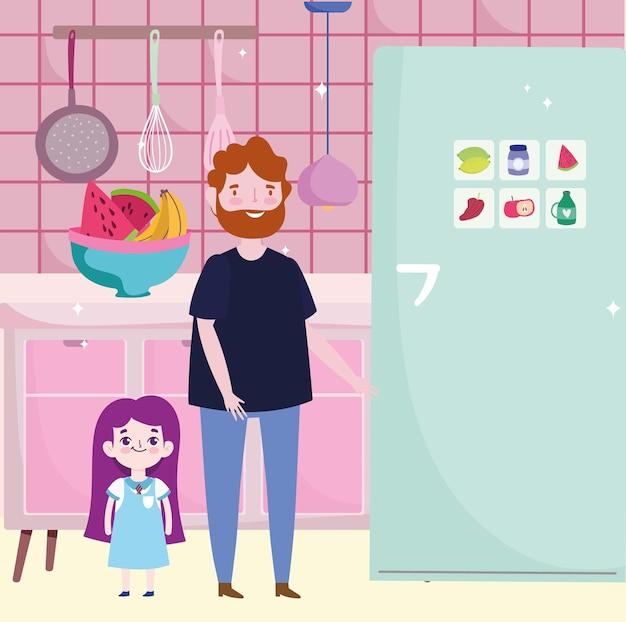 Tata i córka w kuchni z lodówką