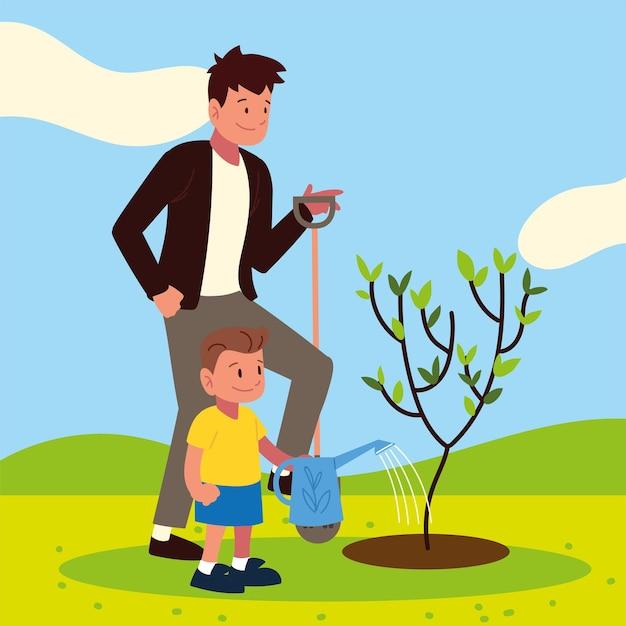 Tata i syn troszczą się o drzewo z wodą