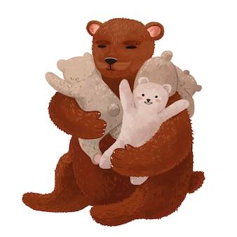 Tata niedźwiedź siada, a niedźwiedzie wspinają się na niego w dzień ojca
