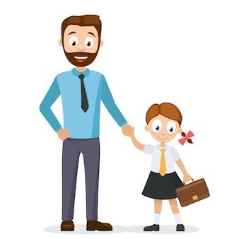 Tata towarzyszy córce w szkole. pierwszy dzień szkoły