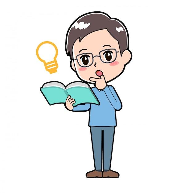 Tata trzyma książkę i ma pomysł