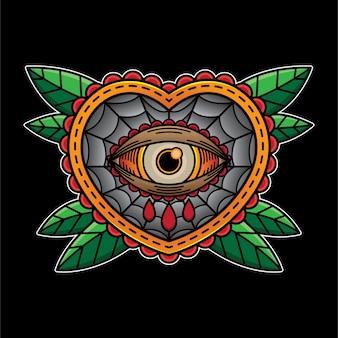 Tatuaż błysk serca w oku