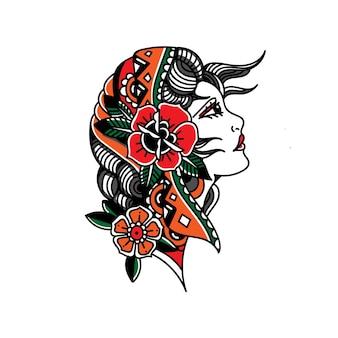 Tatuaż cygańskiej dziewczyny