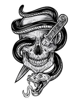 Tatuaż czaszka węża