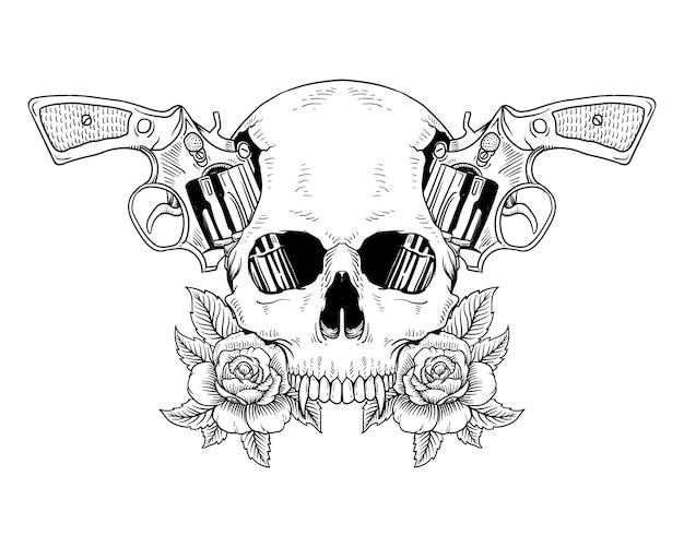 Tatuaż czaszki i róż pistolet na białym tle