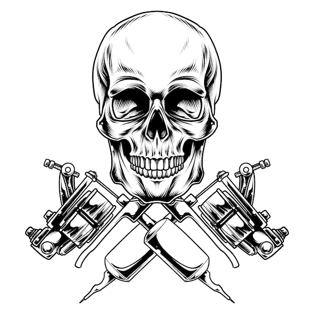 Tatuaż czaszki ilustracja projekt