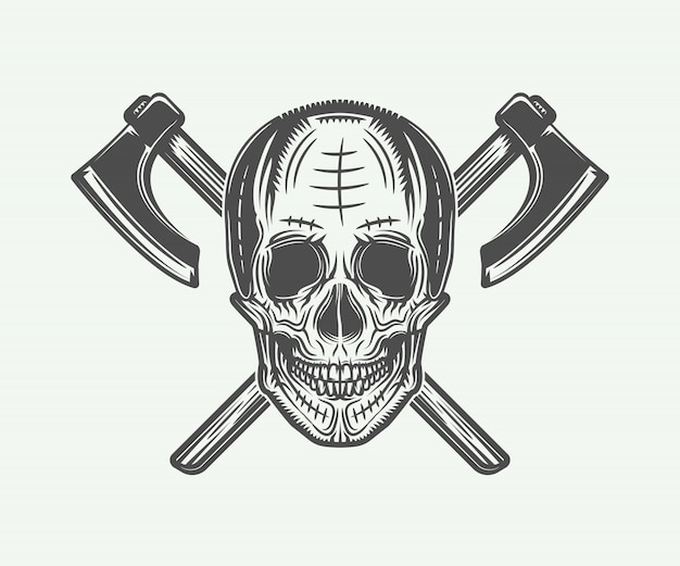 Tatuaż czaszki wikingów vintage