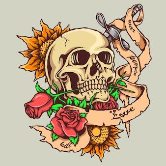 Tatuaż czaszki z różą i banerem