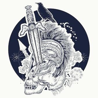 Tatuaż czaszki żołnierzy