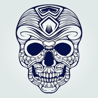 Tatuaż dekoracyjny linii sztuki czaszki