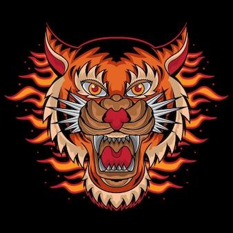 Tatuaż głowy tygrysa ognia