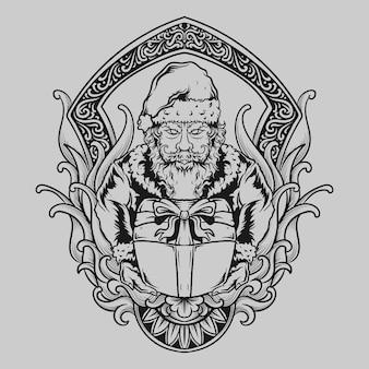 Tatuaż i projekt koszulki ręcznie rysowane ilustracja święty mikołaj daje prezenty grawerujące ornament