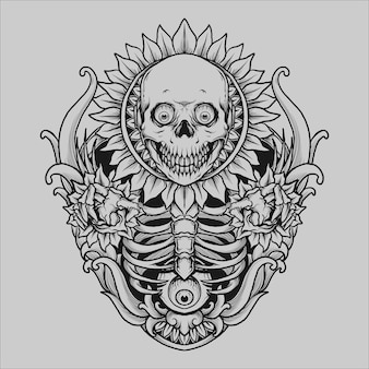 Tatuaż i t shirt design czaszka sun flower grawerowanie ornament