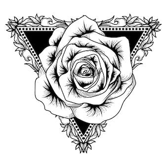 Tatuaż i t-shirt grafika czarno-biały trójkąt i róża premium