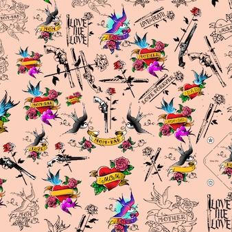 Tatuaż ilustracja, pistolet, nóż i róża.