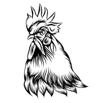 Tatuaż ilustracja pojedynczej głowy koguta z czarnym konturem