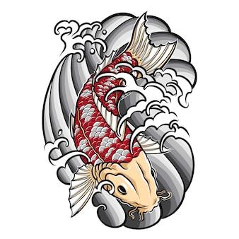 Tatuaż japońskiej ryby koi