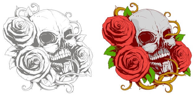 Tatuaż ludzkiej czaszki z czerwonymi różami