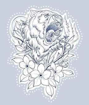 Tatuaż myśliwski rannego niedźwiedzia ze strzałami