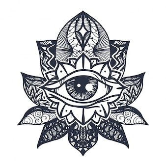 Tatuaż na kwiat lotosu oko