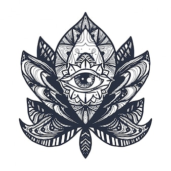 Tatuaż na oko lotosu