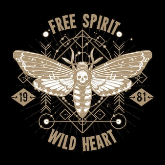 Tatuaż okultystyczny motyla. wolny duch, dzikie serce