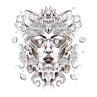 Tatuaż pięknej dziewczyny, kota, ducha lasu