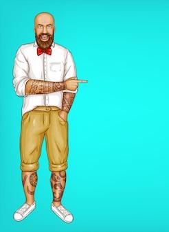 Tatuaż pop-artu, łysy brodaty mężczyzna