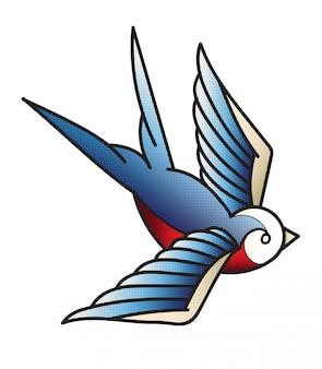 Tatuaż ptak vintage
