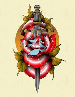 Tatuaż różany sztylet