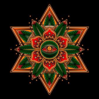 Tatuaż róży i oczu