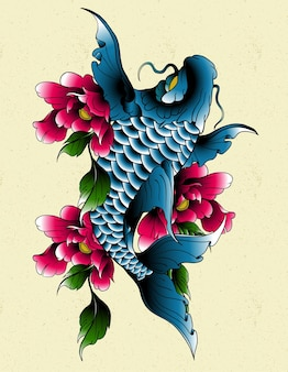 Tatuaż ryb koi
