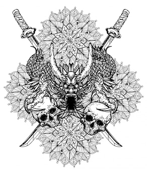 Tatuaż rysunek ręka dargon i szkic czarno-biały