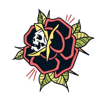 Tatuaż starej czaszki i róży