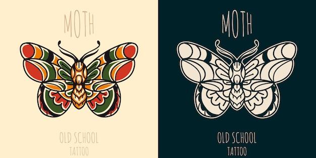 Tatuaż starej szkoły ćmy.
