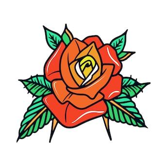 Tatuaż starej szkoły dość gradientu róży