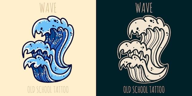 Tatuaż starej szkoły fal morskich.